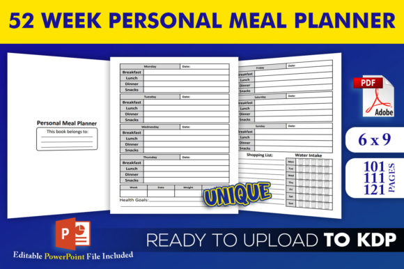 Print on Demand: Personal Meal Planner KDP Interior Graphic KDP Interiors By Beast Designer
