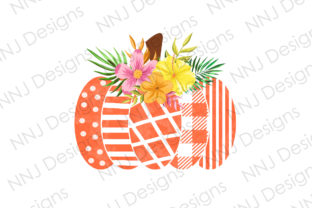 Print on Demand: Pumpkin with Flowers Clipart Graphic Illustrations By NNJ Designs