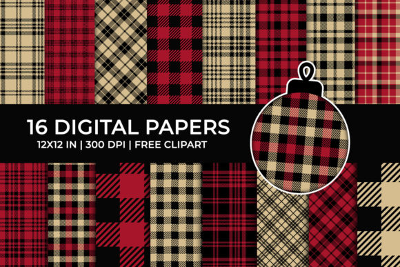 Red Lumberjack Digital Papers Set, Plaid Graphic Backgrounds By TitaTips