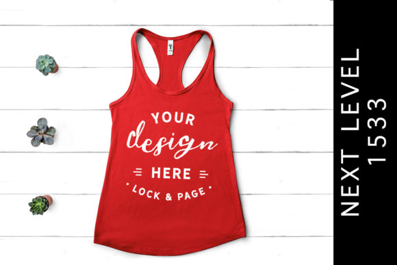 Red Next Level 1533 Tank Top Mockup Graphic Product Mockups By lockandpage