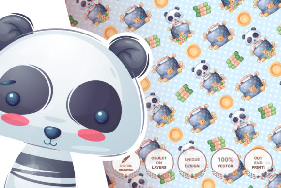 Print on Demand: Set Cute Sticker - Seamless Pattern Graphic Patterns By rwgusev - Image 10
