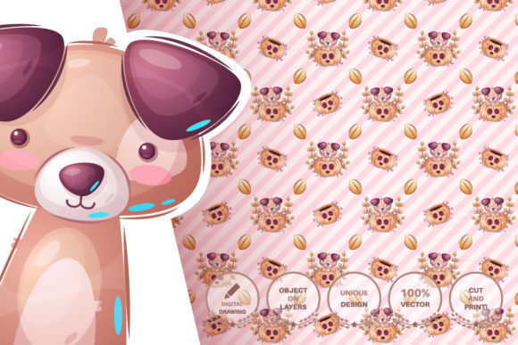 Print on Demand: Set Cute Sticker - Seamless Pattern Graphic Patterns By rwgusev - Image 12