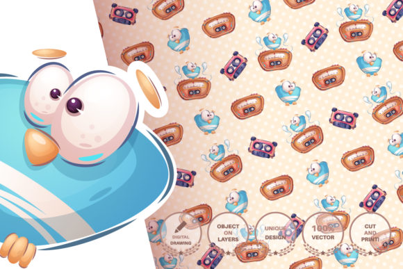 Print on Demand: Set Cute Sticker - Seamless Pattern Graphic Patterns By rwgusev - Image 9