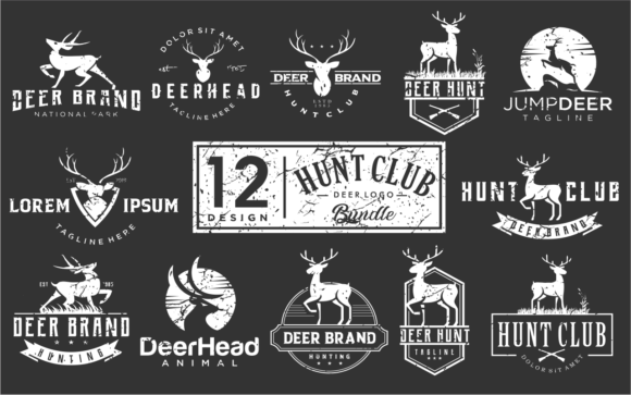 Print on Demand: Set of Deer Hunter Logo Vintage Grunge Graphic Logos By blueberry 99d