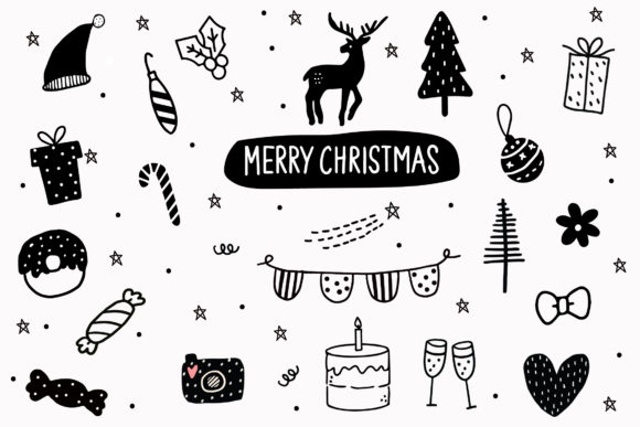 Print on Demand: Set of Christmas Doodle Elements Graphic Illustrations By Zweed n roll