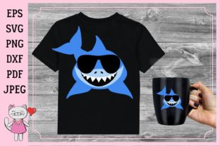 Shark Boy with Sunglasses Graphic Illustrations By  Magic world of design