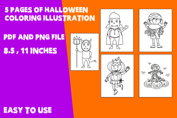 Print on Demand: Spooky Halloween Coloring Pages Graphic Coloring Pages & Books Kids By Mah Moud
