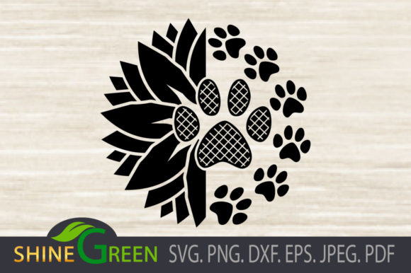 Print on Demand: Sunflower Cat Dog Paw Prints, Pet Lovers Grafik Plotterdateien von ShineGreenArt