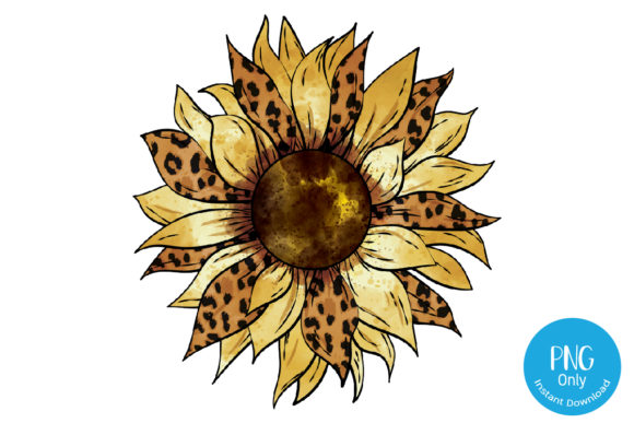 Print on Demand: Sunflower Leopard Sublimation Graphic Print Templates By Tori Designs