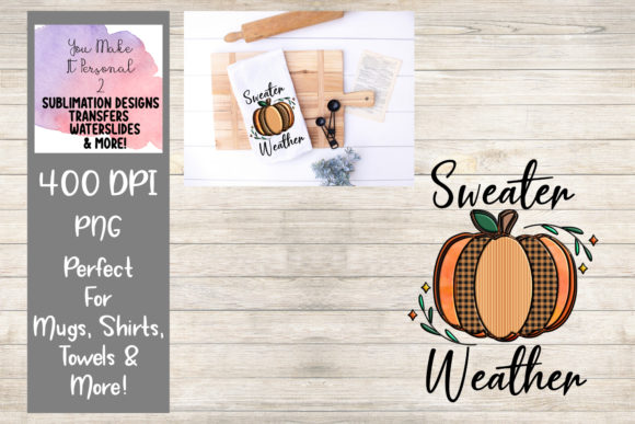 Print on Demand: Sweater Weather, Hand Drawn Pumpkin Graphic Print Templates By You Make It Personal