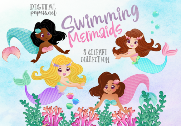 Print on Demand: Swimming Mermaids Graphic Illustrations By DigitalPapers