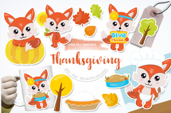Print on Demand: Thanksgiving Foxes Graphic Illustrations By Prettygrafik