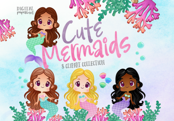 Print on Demand: Watercolor Cute Mermaids Graphic Illustrations By DigitalPapers