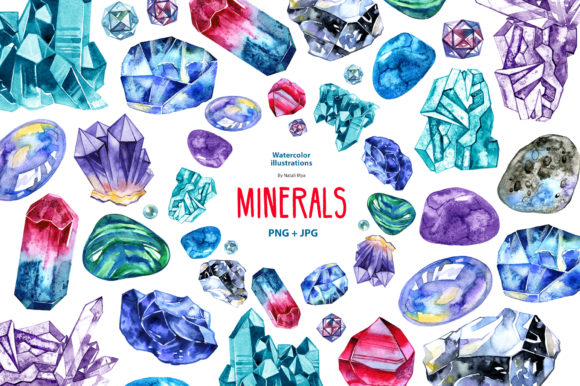 Watercolor Minerals and Gems Graphic Illustrations By NataliMyaStore