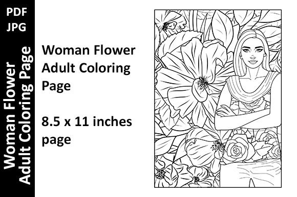 Woman Flower Adult Coloring Page Graphic Coloring Pages & Books Adults By Oxyp