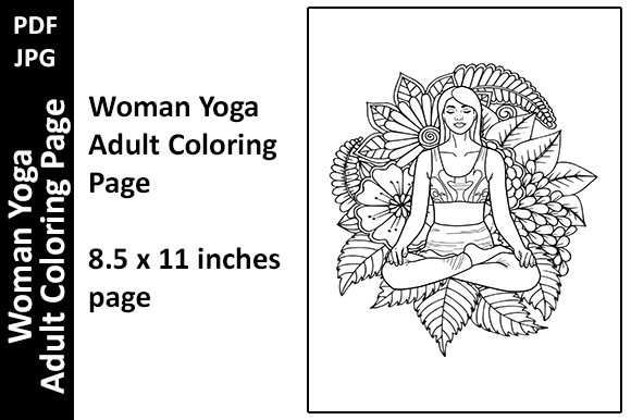 Woman Yoga Nature Adult Coloring Page Graphic Coloring Pages & Books Adults By Oxyp