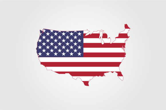 American Flag Vector on American Map Graphic Objects By lawoel