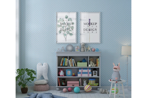 Mockup Poster Frame, Wall in Playroom Graphic Product Mockups By izharartendesign