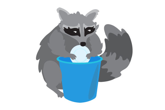 Raccoon Doing Dishes Designs & Drawings Craft Cut File By Creative Fabrica Crafts