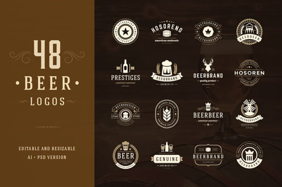 45 Beer Logotypes and Badges Graphic Logos By vasyako1984