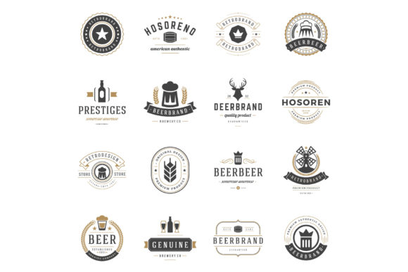 45 Beer Logotypes and Badges Graphic Download