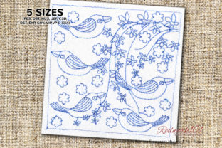 Abstract Bird Pattern Redwork Paisley Embroidery Design By Redwork101