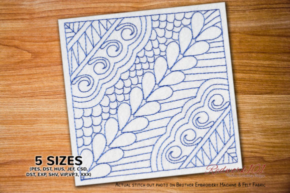 Abstract Floral Background Redwork Paisley Embroidery Design By Redwork101 - Image 1