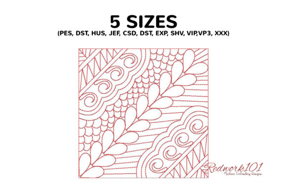 Abstract Floral Background Redwork Paisley Embroidery Design By Redwork101 - Image 2
