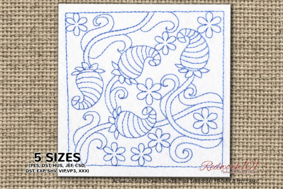 Abstract Floral Pattern Redwork Paisley Embroidery Design By Redwork101