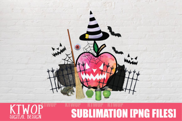 Print on Demand: Apple-Halloween-watercolor Teacher Graphic Crafts By KtwoP