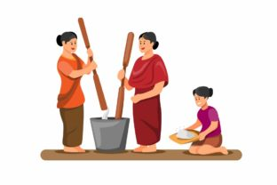 Print on Demand: Asian Woman Pounding and Cleaning Rice Graphic Illustrations By aryo.hadi