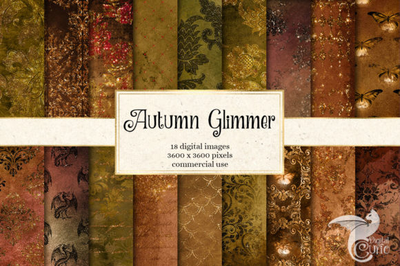 Print on Demand: Autumn Glimmer Digital Paper Graphic Textures By Digital Curio