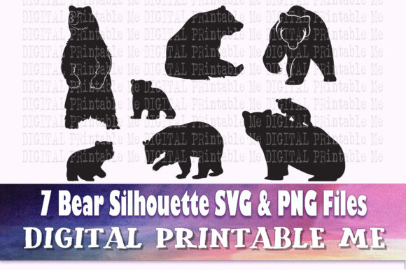 Print on Demand: Bear Silhouette, Woodland Baby Bear Graphic Crafts By DigitalPrintableMe
