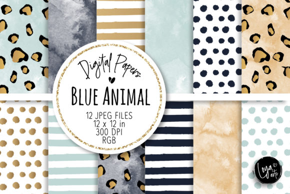 Print on Demand: Blue Animal Digital Papers Set Graphic Backgrounds By loyaarts