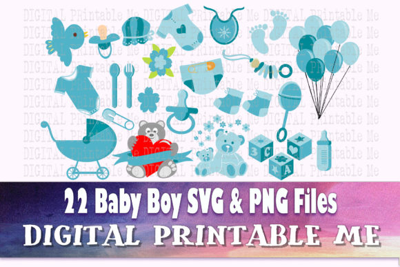 Print on Demand: Boy Baby Shower Light Blue SVG Clip Art Graphic Crafts By DigitalPrintableMe