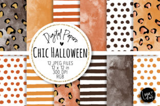 Print on Demand: Chic Halloween Digital Paper Set Graphic Backgrounds By MutchiDesign