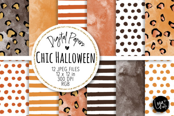 Print on Demand: Chic Halloween Digital Paper Set Graphic Backgrounds By loyaarts