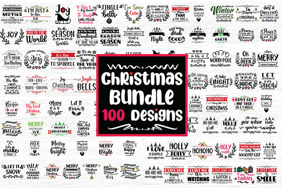 Print on Demand: Christmas Bundle 100 Designs Graphic Crafts By svg.in.design