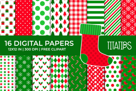 Christmas Digital Papers Set Graphic Backgrounds By TitaTips