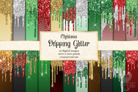 Print on Demand: Christmas Dripping Glitter Digital Paper Graphic Backgrounds By Digital Curio