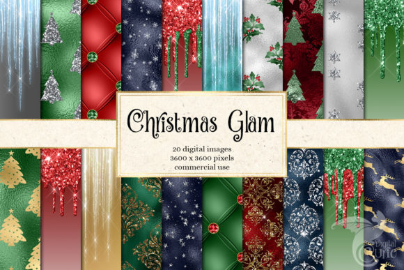 Christmas Glam Digital Paper Graphic
