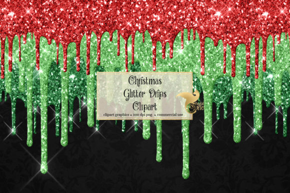 Print on Demand: Christmas Glitter Drips Clipart Graphic Illustrations By Digital Curio
