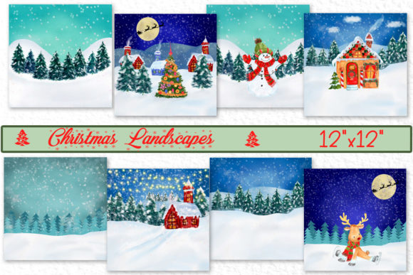 Christmas Landscapes Cards Graphic Illustrations By vivastarkids