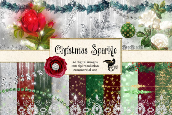 Print on Demand: Christmas Sparkle Digital Scrapbook Kit Grafik Illustrationen von Digital Curio