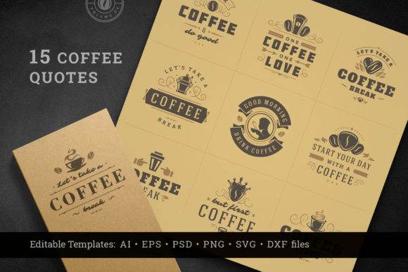 Coffee Quotes and Phrases Set Graphic