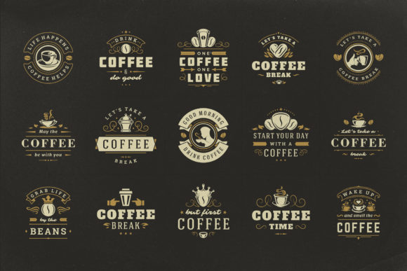 Coffee Quotes and Phrases Set Graphic Download