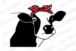 Print on Demand: Cow with Bandana Red Bow Clipart Graphic Illustrations By NNJ Designs