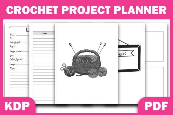 Print on Demand: Crochet Project Planner KDP Interior PDF Grafik KPD Innenseiten von Fayne