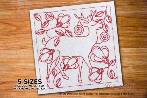 Cute Deer with Floral Background Redwork Wild Animals Embroidery Design By Redwork101