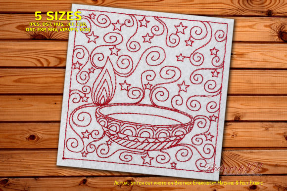 Decorative Diwali Candle Redwork Mandala Embroidery Design By Redwork101